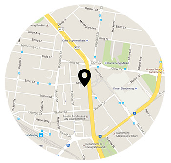 map showing the location of Chisholm at 311 campus, Dandenong
